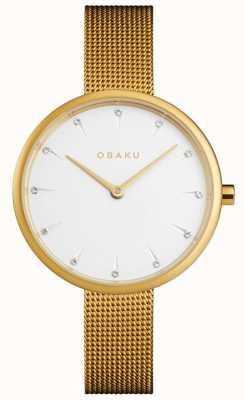 Obaku | Women's Notat Gold | Gold Mesh Bracelet | White Dial | V223LXGIMG