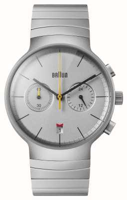 Braun Men's Chrono | Silver Dial | Black Leather Strap BN0265SLBTG