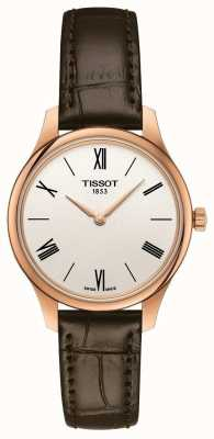 Tissot Womens Tradition | Brown Leather Strap | Silver Dial T0632093603800