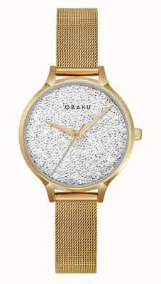 Obaku | Women's St Jerner Gold | Gold Mesh Bracelet | Crystal Dial V238LXGWMG