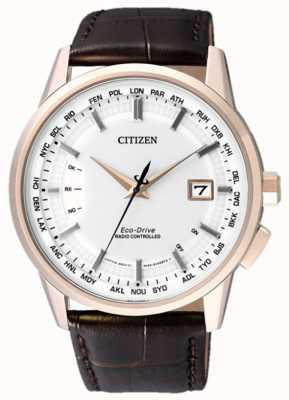 Citizen Radio Controlled A-T Perpetual | Brown Strap | White Dial CB0153-21A