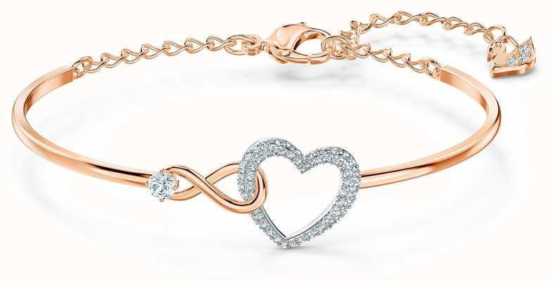Swarovski Infinity Heart Bangle | White | Mixed Metal Finish 5518869