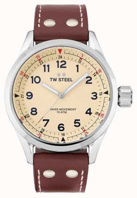 TW Steel | Mens | Swiss Volante | Cream Dial | Brown Leather Strap | SVS101