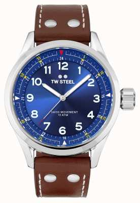 TW Steel | Mens | Swiss Volante | Blue Dial | Brown Leather Strap | SVS102