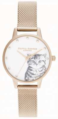 Olivia Burton Pearly Illustrated Kitten Rose Gold Mesh OB16WL88