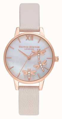 Olivia Burton Dancing Dragonfly | Pink Leather Strap |Mother Of Pearl Dial OB16GB01