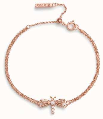 Olivia Burton Bejewelled Dancing Dragonfly | Rose Gold Bracelet OBJAMB104