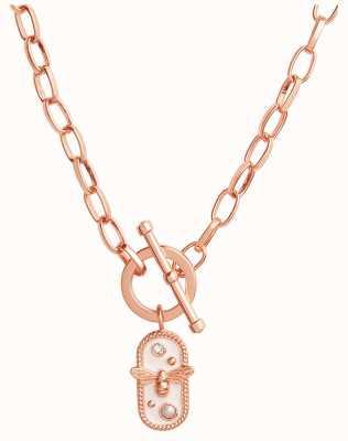 Olivia Burton Lucky Bee   White Enamel Bee Chain Necklace   Rose Gold OBJAMN80