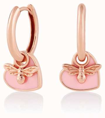Olivia Burton You Have My Heart | Rose Gold/Pink Huggie Hoop Earrings OBJLHE41