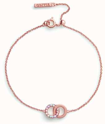 Olivia Burton Bejewelled Classic | Rainbow Interlink Bracelet Rose Gold OBJRBB03