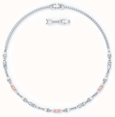 Swarovski Perfection Chaton Necklace | Rhodium Plated | Pink 5515514