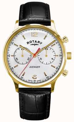 Rotary Men's Avenger   Black Leather Strap   Gold Case   White Dial GS05206/70