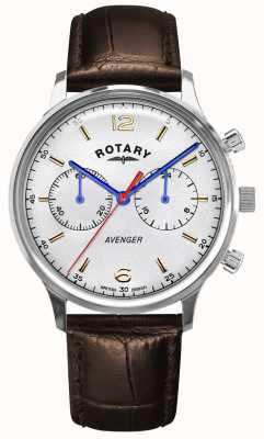 Rotary Men's Avenger   Brown Leather Strap   Silver Dial GS05203/70