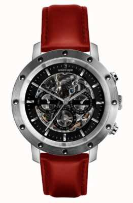 Weird Ape Icarus 3-Dial Black, Silver & Red Leather Skeleton Watch WA02-005722