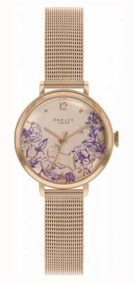 Radley   Women's Rose Gold Mesh Bracelet   Floral Print Dial RY4524