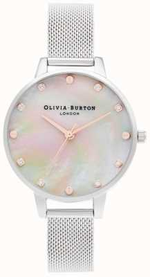 Olivia Burton | Demi MOP Dial With Screw Detail | Silver Mesh Bracelet | OB16SE07
