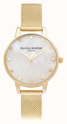 Olivia Burton | Midi MOP Dial With Screw Detail | Pale Gold Mesh Bracelet | OB16SE08