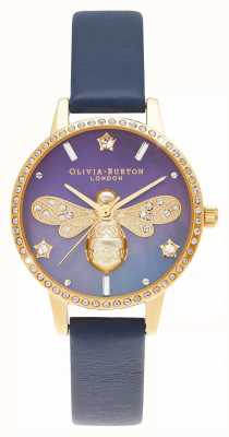 Olivia Burton Mother Of Pearl Midi Dial Sparkle Bee Blue Leather OB16GB06