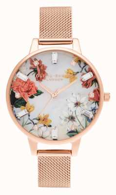 Olivia Burton Demi | Mother Of Pearl Dial | Rose Gold Mesh OB16BF28