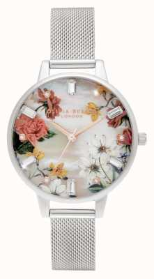 Olivia Burton Demi | Bouquet Print Mother Of Pearl Dial | Stainless Steel Mesh OB16BF32