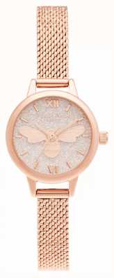 Olivia Burton Lucky Bee Mini Dial Rose Gold Mesh Bracelet OB16FB15