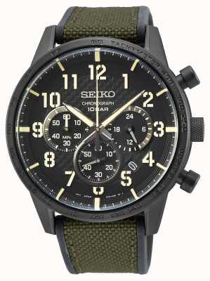 Seiko   Conceptual Gents Quartz   Military Green Strap  Black Dial SSB369P1