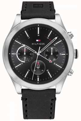 Tommy Hilfiger Ashton | Black Leather Strap | Black Dial | 1791740