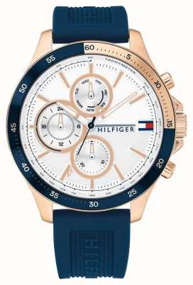 Tommy Hilfiger Bank | Blue Silicone Strap | White Dial 1791778