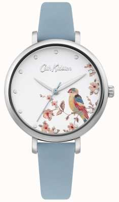 Cath Kidston Pale Blue Leather Strap   Silver Floral Bird Dial CKL099US
