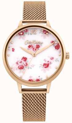 Cath Kidston   Women's Rose Gold Mesh Strap   White Floral Dial CKL095RGM