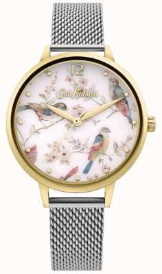 Cath Kidston   Women's Floral Bird Print Dial   Silver Mesh Bracelet CKL095GSM
