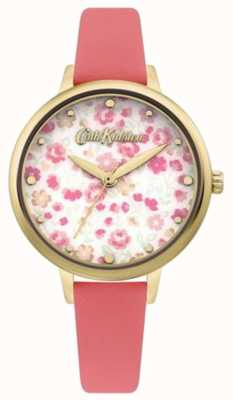 Cath Kidston Women's Floral Print Dial | Coral Leather Strap CKL096PG