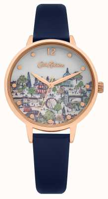 Cath Kidston | Women's Navy Leather Strap | Printed Champagne Dial | CKL083URG