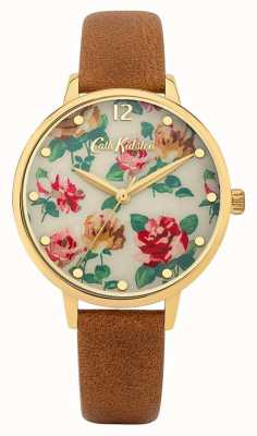 Cath Kidston | Women's Tan Leather Strap | Multi-Coloured Floral Dial | CKL083TG