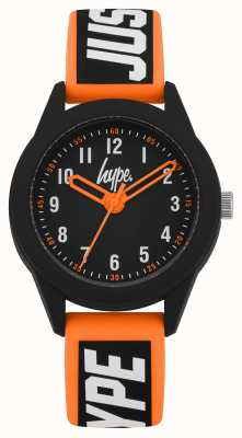 Hype | Orange/Black Silicone Strap | Black Dial | HYK004OB