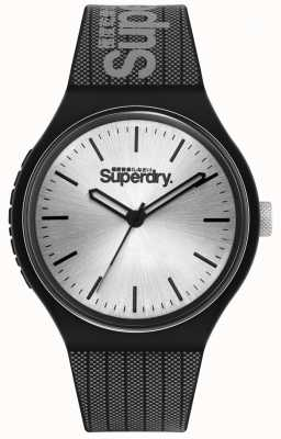 Superdry SILVER SUNRAY DIAL | BLACK AND GREY PRINTED SILICONE STRAP | SYG293B