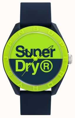 Superdry Navy Silicone Strap | Blue/Green Dial SYG303UN