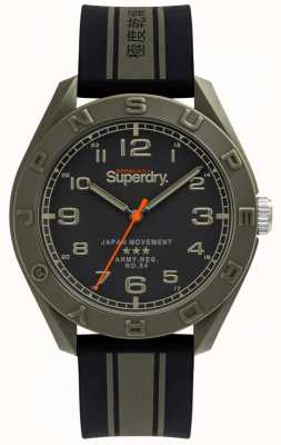 Superdry | Osaka | Black/Khaki Rubber Strap | Black Dial | SYG305NB
