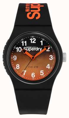 Superdry | Black Silicone Strap | Black/Orange Two-Tone Dial | SYG198BO