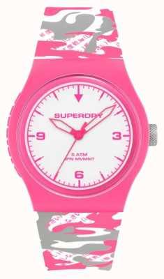 Superdry | Urban | Women's Fluoro Camo | Silicone Strap | White Dial SYL296EP