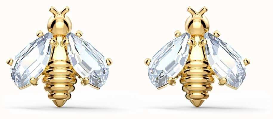 Swarovski | Eternal Flower | Bee Pierced Earrings | White | Gold-Tone 5518143