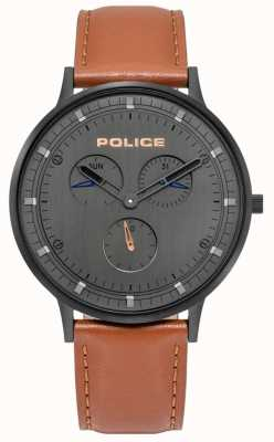 Police | Men's Berkeley | Brown Leather Strap | Grey Dial | 15968JSB/39
