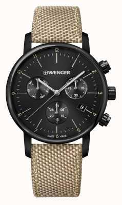 Wenger   Urban Classic Chrono   Beige Nylon Strap   Black Dial   01.1743.117