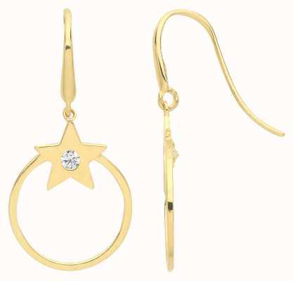 Treasure House 9ct Gold Star Cz Drop Hoop Earrings ER1160