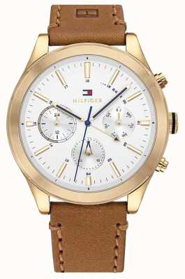 Tommy Hilfiger Ashton | Brown Leather Strap | White Dial | 1791742