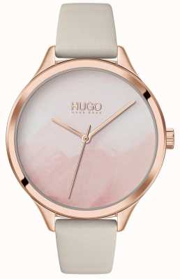 HUGO #SMASH | Pink Blush Dial | Cream Leather Strap 1540059