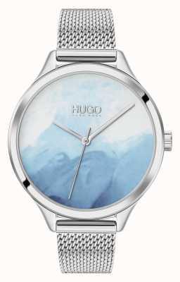 HUGO #SMASH   Blue Blush Dial   Stainless Steel Mesh 1540061