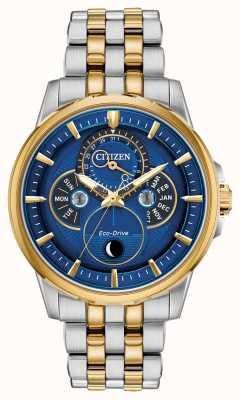 Citizen | Men's | Eco-Drive | Moonphase | Blue Dial BU0054-52L