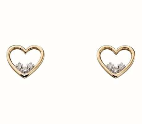 Elements Gold 9ct Yellow Gold 3 Stone Open Heart Diamond Stud Earrings GE2154