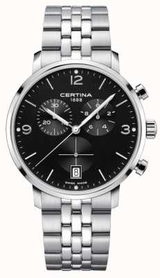 Certina Men's | DS Caimano | Chronograph | Black Dial |  Stainless C0354171105700